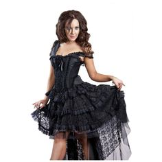A gorgeous item from Burleska, this Ophelie Dress features a corsetted top with steel bones and a black satin design top and lace skirting detail. Absolutely beautiful and a definate show stopper!
