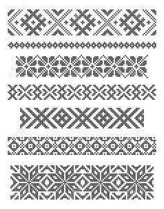 Discover thousands of images about Set Of Borders, Embroidery Cross, Vector Royalty Free Cliparts, Vectors, And Stock Illustration. Simple Cross Stitch, Cross Stitch Borders, Cross Stitching, Cross Stitch Patterns, Fair Isle Knitting Patterns, Knitting Charts, Loom Beading, Beading Patterns, Postage Stamp Quilt