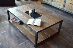 Table basse bois naturel et acier- MICHELI Design