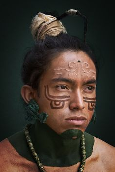 maya prehispanic makeup warrior méxico wound scarification latex body paint green hade natural recreacionista