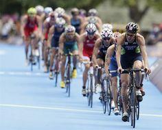 Brazil's Reinaldo Colucci competes in the men's triathlon final.