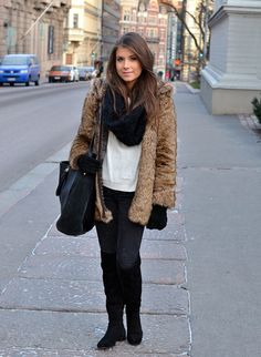 knee high boots, black infinity scarf and fur coat, comfy.