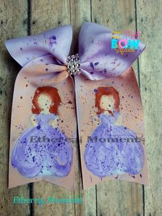 Princess Sofia handpainted cheer hairbow https://www.facebook.com/etherealmoments