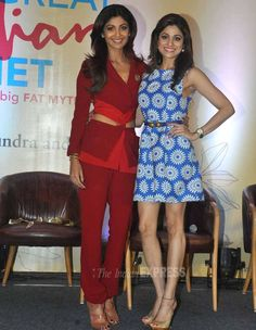 Shilpa Shetty with sister Shamita Shetty at the launch of her book 'The Great Indian Diet'. #Bollywood #Fashion #Style #Beauty #Sexy #Hot