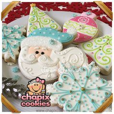 ❄ Cookies from our Basic Class 2015 ❄, Santa, snowflakes, Christmas trees in pastels by Chapix Cookies Santa Cookies, Christmas Sugar Cookies, Iced Cookies, Cute Cookies, Royal Icing Cookies, Holiday Cookies, Cupcake Cookies, Cupcakes, Christmas Goodies