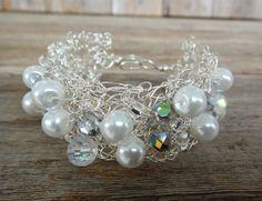 Crochet Cuff Bracelet - crochet lace silver wire, Ivory white pearls, crystal beads, glass beads, crochet jewelry (B9)