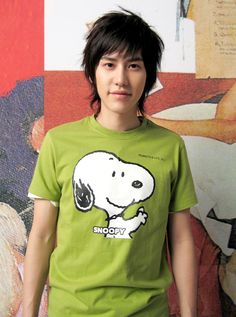 This is perfect he is wearing a snopoy tshirt :3
