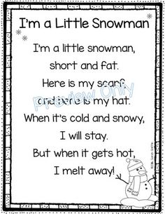 I'm a Little Snowman poem for kids | Winter poems | Snowman songs | Kindergarten | 1st grade | printable poems | poem of the week | poetry notebook