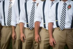 groomsmen, navy and white striped tie, lake wedding, suspenders