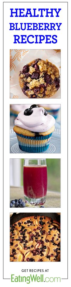 Oatmeal Breakfast Cakes, Cupcakes, Smoothies and more healthy blueberry recipes.