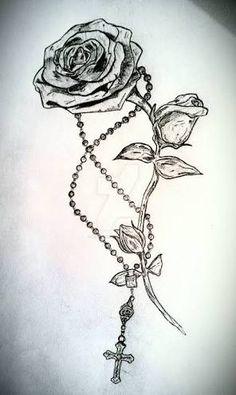 Rose and Rosary Tattoo by LeviLambert on deviantART - Best Tattoos Neue Tattoos, Arm Tattoos, Body Art Tattoos, Sleeve Tattoos, Tatoos, Rib Cage Tattoos, Garter Tattoos, Skull Tattoos, Trendy Tattoos