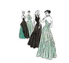 1940s Halter Evening Dress Pattern Butterick by JFerrariDesigns, $145.00