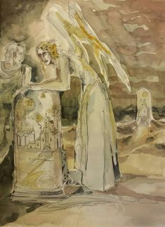 Items similar to Time Capsule Worlds Original Surreal Painting Angel Dome Village Castle Spell Protector Preserved in Eternity Everlasting World Microcosm on Etsy Forest Path, Surrealism Painting, Satyr, World View, Time Capsule, Surreal Art, Nymph, Watercolor And Ink, Deities