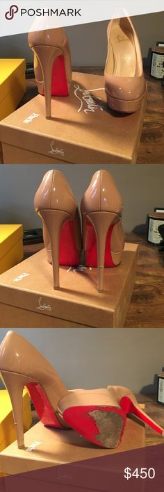 Christian Louboutin Bianca heel Nude Christian Louboutin Bianca heel. Worn only a few times. Size 7. A little worn but still in good condition with box. Christian Louboutin Shoes Platforms