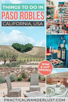 The ultimate travel guide to the best things to do in Paso Robles, CA, from wine tasting to hot springs. Paso Robles is the perfect weekend getaway! Usa Travel Guide, Travel Usa, Travel Guides, Travel Tips, Canada Travel, Paso Robles Inn, Cool Places To Visit, Places To Go, California Travel