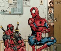 Spider-Man and Deadpool get sent to the principal's office. I feel like Spidey and Deadpool would be partners in crime. Marvel Comics, Bd Comics, Marvel Vs, Marvel Heroes, Deadpool Comics, Comic Book Characters, Comic Character, Comic Books Art, Comic Art
