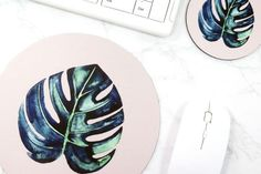 Botanical Mouse Pad Monstera Mouse Mat Cute Desk Accessories Natural Office Decor  Bring nature to your office. Botanical green leaves pattern on the mouse pad, coaster, and 2 small posters.  You can use the small posters as postcards, or frame them and decorate your home.  Size.  1 x Mouse pad. 7.9 x 7.9 x 0.12 (Polyester/Rubber)  1 x Coaster. 4 x 4 x 0.12 (Polyester/Rubber)  2 x Little Posters. 5 x 7 (Paper/Usable as postcards) *Posters will be included every option*   FRAMES...