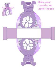 Princesa Sofía: Caja con Forma de Vestido para Imprimir Gratis.