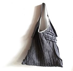 sling tote bag  grey linen tote  textured bag by yorktownroad, $145.00