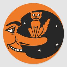 Vintage Halloween - Cat in the Moon Classic Round Sticker - tap to personalize and get yours #ClassicRoundSticker  #vintage #halloween #halloween #cat #halloween Retro Halloween, Old Halloween Costumes, Vintage Halloween Images, Halloween Signs, Fall Halloween, Halloween Decorations, Lifeguard Halloween Costume, Black Dress Halloween Costume, Happy Halloween