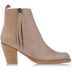 Acne Studios Ankle Boots ($570) ❤ liked on Polyvore featuring shoes, boots, ankle booties, sand, short leather boots, zip boots, zip ankle boots, round toe booties and leather ankle boots