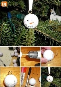 golf ball ornaments - create a collection from all the logo balls from the courses you've played over the years - great idea!
