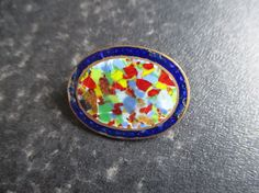 Vintage Micro mosaic tesserae enamelled brooch by VintageHub2016