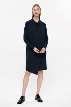 COS image 1 of Draped collar jersey dress in Navy