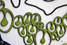 Quirky Green Necklace  Reptilian Mod  Abstract by LemantulaDesigns