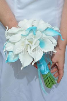 Gorgeous Artificial White and Aqua Tipped Calla Lily Wedding Bridal Bouquet - Silk Flowers #artificialflowers #wedding #weddingflowers #bouquet #flowers #bridalbouquet #silkflowers #callalilies #blue