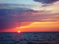 Sunset at the lake of Ladoga Russia