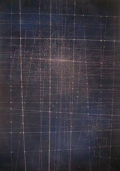 Emma McNally: C40  white pastel on dark ultramarine ground 85cmx120cm