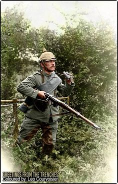 A dismounted unteroffizier from 3. Badisches Dragoner-Regiment Prinz Karl Nr.22 reconnoiters the terrain ahead of the advancing infantry.