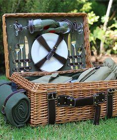 Green English Willow Picnic Basket Set