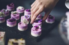 mini raw cheesecakes with edible flowers