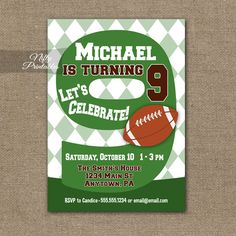 9th Birthday Invitation – Football 9th Birthday