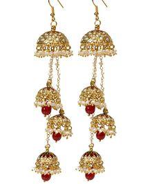 Red Ruby Jhumka Earrings Freshwater Pearl by taneesijewelry, $189.99