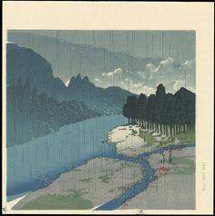 Hasui, Kawase (1883-1957) - Rain At Okutama River - 雨の奥多摩