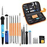 INLIFE 60W 110V Soldering Iron Kit with Adjustable Temperature Welding Iron 6pcs Aid Tools 5pcs Tips 2pcsTweezers Solder Sucker Screwdriver Solder Wire Tube and Stand in PU Carry Bag