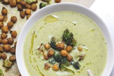 Creamy Vegan Broccoli Soup with Curried Chickpeas