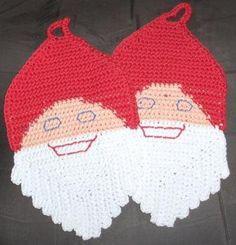 New handmade potholders by Hildescrochetshop on Etsy Christmas Owls, Christmas Time, Christmas Decorations, Crochet Santa, Crochet Top, Crochet Potholders, Pot Holders, Cotton, How To Make