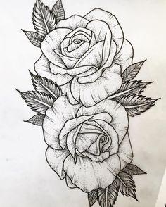 hier sind rosen tattoo vorlage hier sind zwei große weiße rosen tätowierungen mit schwarzen blättern