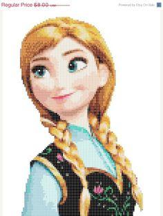 "ON SALE INSTANT Download - Princess Anna Frozen - 6.14"" x 9.93"" - Cross Stitch Pattern Pdf"
