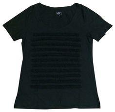 Ann Taylor LOFT Ruffle Tee T Shirt Black $13