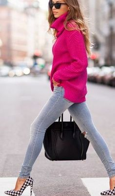 Women's Black Sunglasses, Hot Pink Turtleneck, Grey Ripped Skinny Jeans, Black Leather Tote Bag, and Black and White Houndstooth Leather Pumps