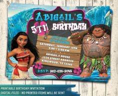 Moana Invitation. Moana Party. Disney Moana. Moana Birthday Invitation. Moana Printable Invite. Moana Digital. Moana Birthday Card. DIY.
