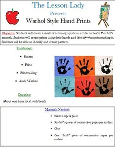 Andy Warhol Style Hand Print Art Lesson from Lesson Lady on TeachersNotebook.com -  (7 pages)