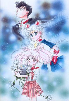 """美少女戦士セーラームーン原画集 Bishoujo Senshi Sailor Moon Original Picture Collection Vol.2 """"When I worked on this picture I really did not have any time or any ideas for the colors. Therefore, I finished it in about one hour halfheartedly. Later on, the chief editor said to me, """"I like these colors,"""" and I felt deeply guilty."""" by Naoko Takeuchi - The August issue of Nakayoshi 1993, title page"""