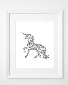 Geometric UnicornUnicorn Wall Prints Unicorn by ChicScandinavian