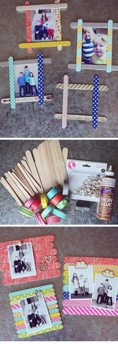 Popsicle Stick Photo Frames | 18 DIY Fathers Day Gifts from Kids for Grandpa…